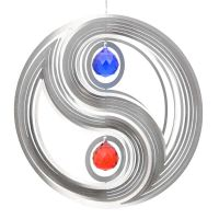 Windspiel Yin Yang XL mit 2x40mm Kristallkugel