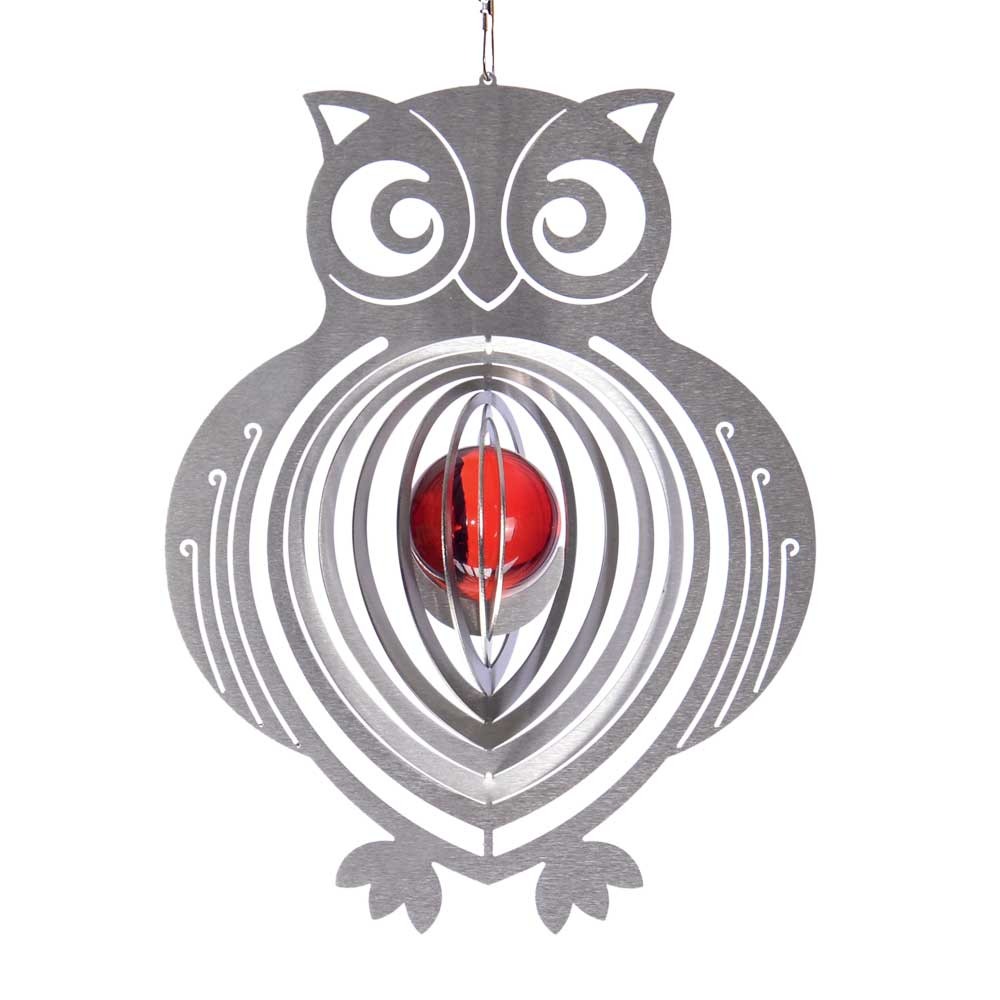 Windspiel eule mit 35mm glaskugel illumino edelstahl for Gartendeko sale