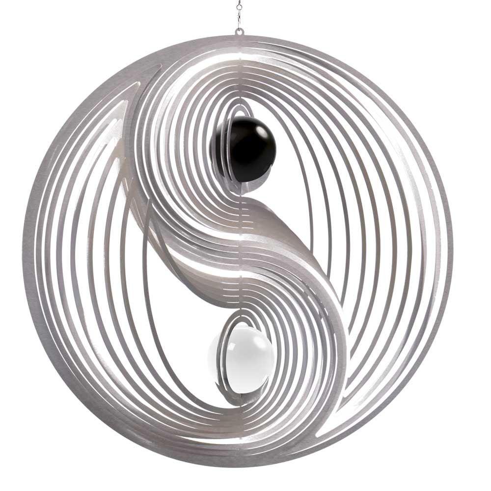 Windspiel Yin Yang L mit schwarzer und weißer 50mm Opalkugel ...