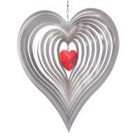 Windspiel Herz Amica - Cara mit 28 mm rotem Kristallherz