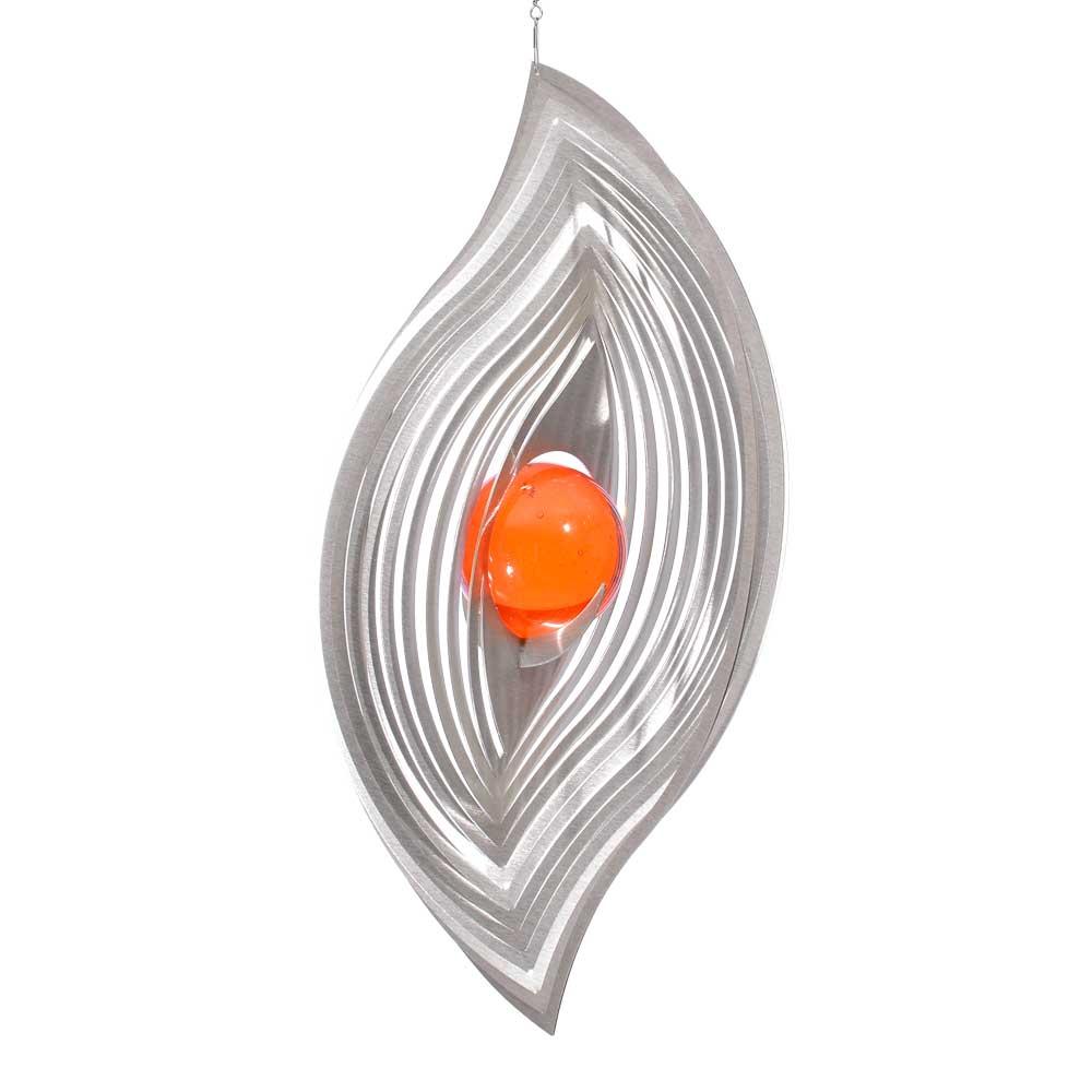 Windspiel wellenblatt xl mit 50mm glaskugel illumino for Gartendeko sale