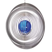 Illumino  Edelstahl Windspiel Kreis mit Kugel 35mm.