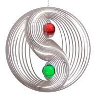Windspiel Yin Yang -  L mit 2 x 50mm Glaskugel