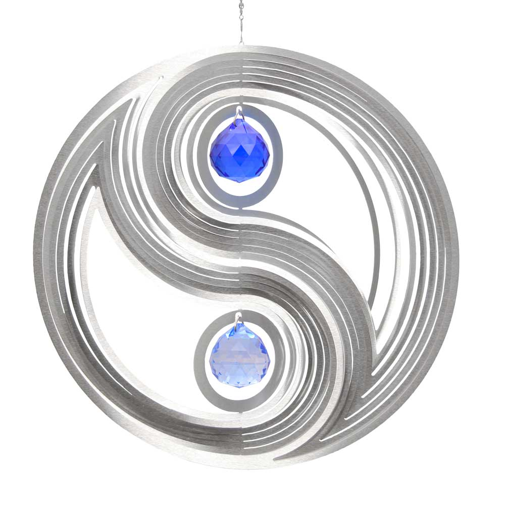gartengestaltung yin yang windspiel yin yang m mit 2x30mm kristallkugeln